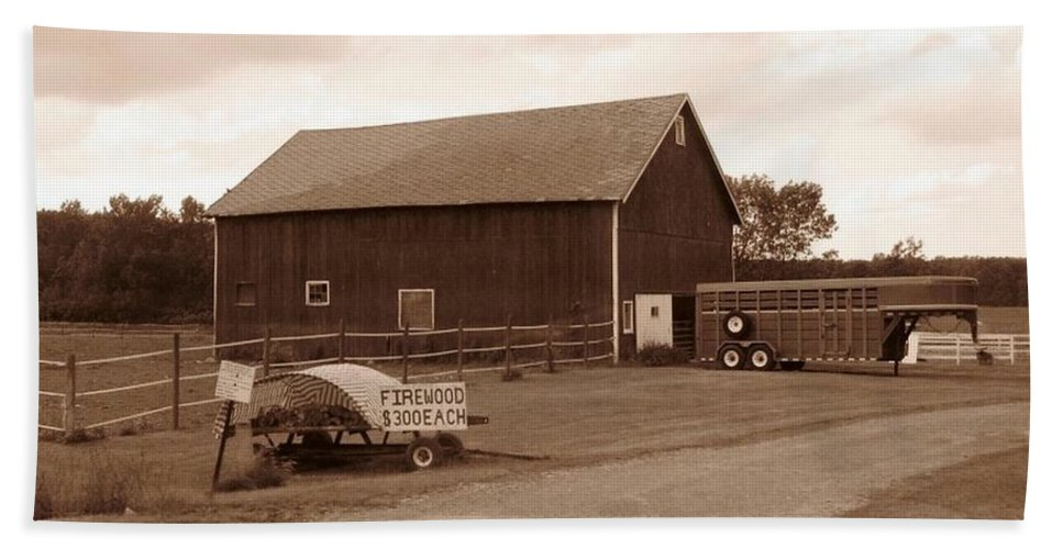 Barn Bath Sheet featuring the photograph Firewood For Sale by Rhonda Barrett