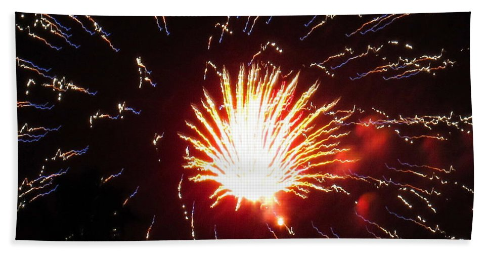 Fireworks Bath Sheet featuring the photograph Firework Matchlight by Adrienne Wilson