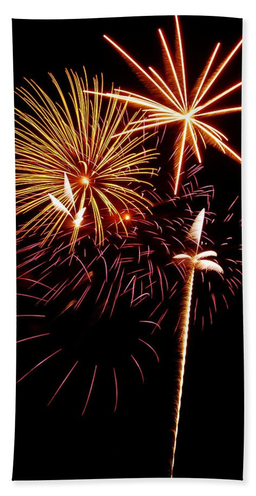 Fireworks Hand Towel featuring the photograph Fireworks 1 by Michael Peychich
