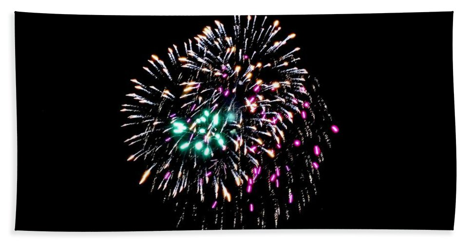 Fireworks Hand Towel featuring the photograph Fireworks 19 by Scenic Sights By Tara