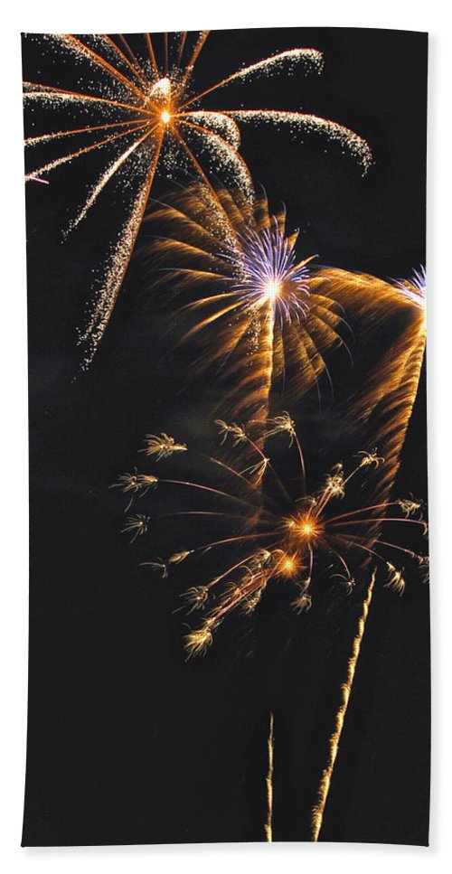 Fireworks Bath Sheet featuring the photograph Fireworks 3 by Michael Peychich