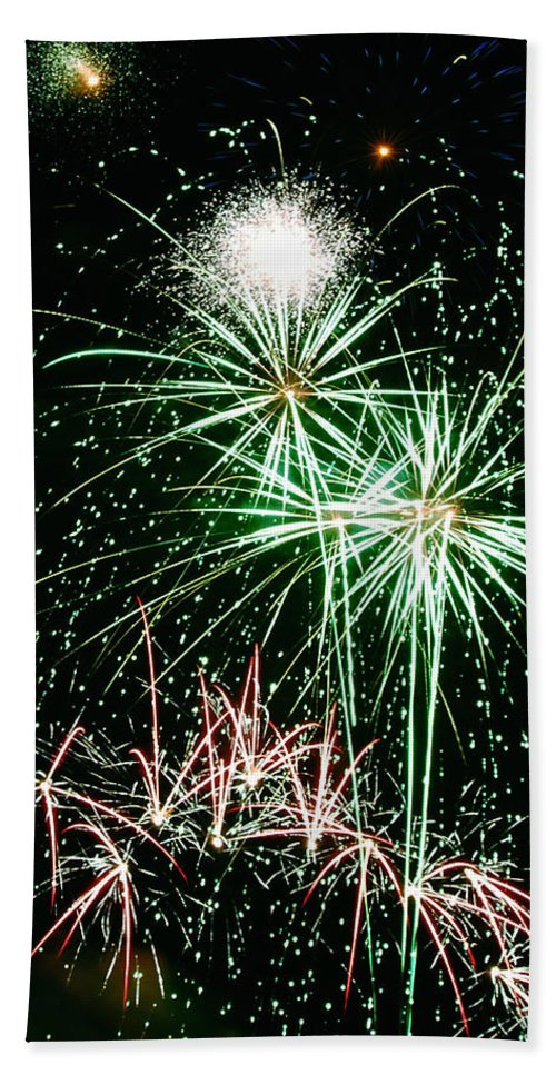 Fireworks Hand Towel featuring the photograph Fireworks 4 by Michael Peychich