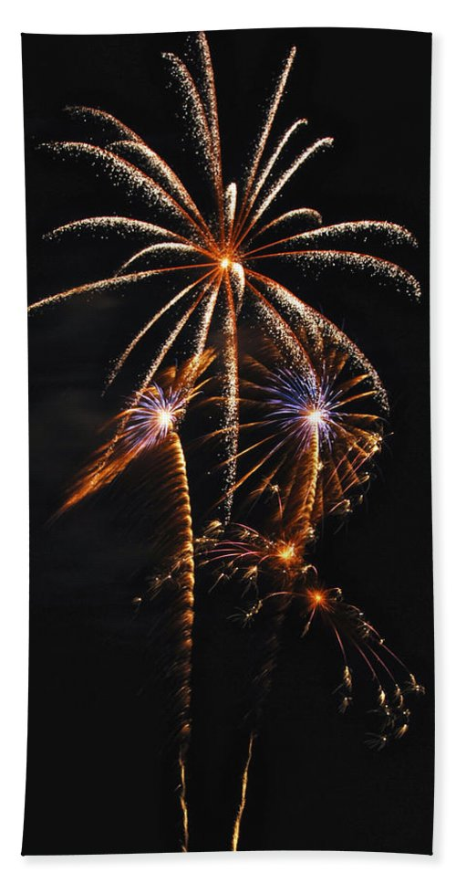 Fireworks Hand Towel featuring the photograph Fireworks 5 by Michael Peychich