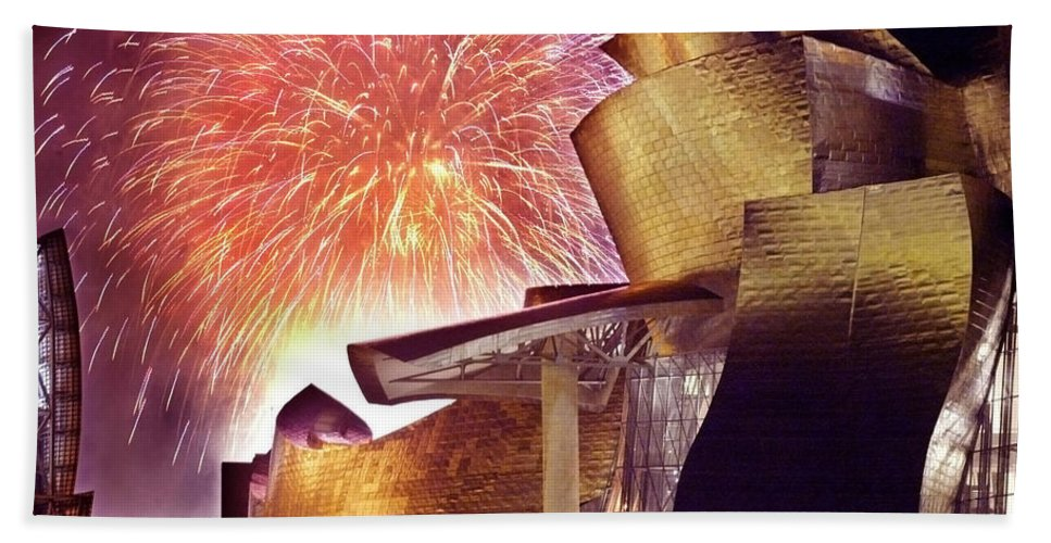 Spain Hand Towel featuring the photograph Fireworks At Guggenheim by Rafa Rivas