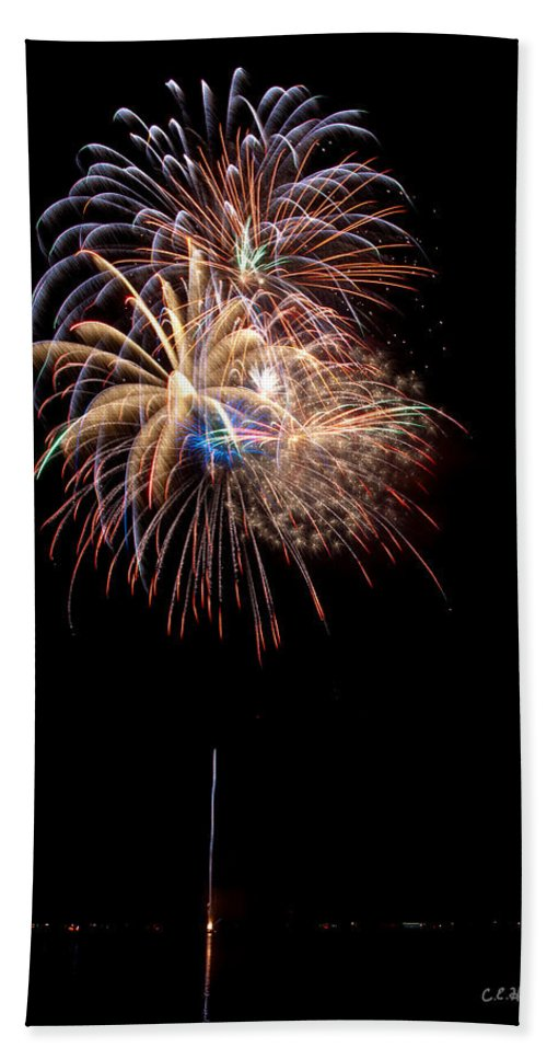 Fireworks Bath Sheet featuring the photograph Fireworks IIi by Christopher Holmes