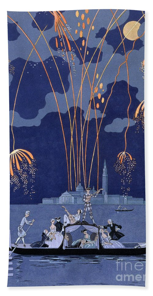 Art Deco; Stencil; Night; Grand Canal; Campanile; Gondola; Boat; Minstrels; Lovers; Couples; Musicians; 18th Century Costume; Poem; Romantic Bath Sheet featuring the painting Fireworks In Venice by Georges Barbier
