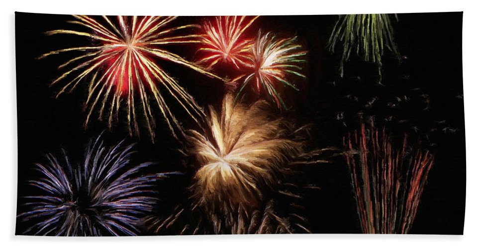 Fireworks Hand Towel featuring the painting Fireworks by Jeffrey Kolker