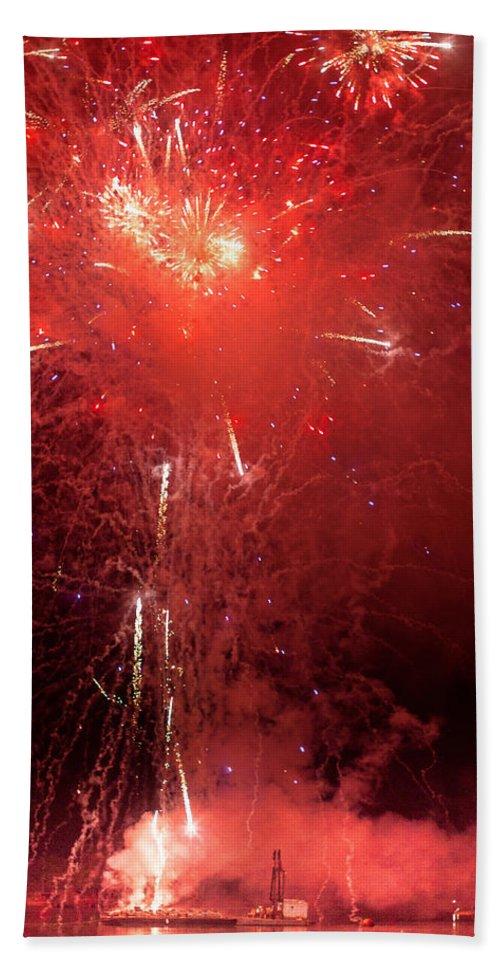 Firewalks Bath Sheet featuring the photograph Fireworks Over Humboldt Bay by Greg Nyquist