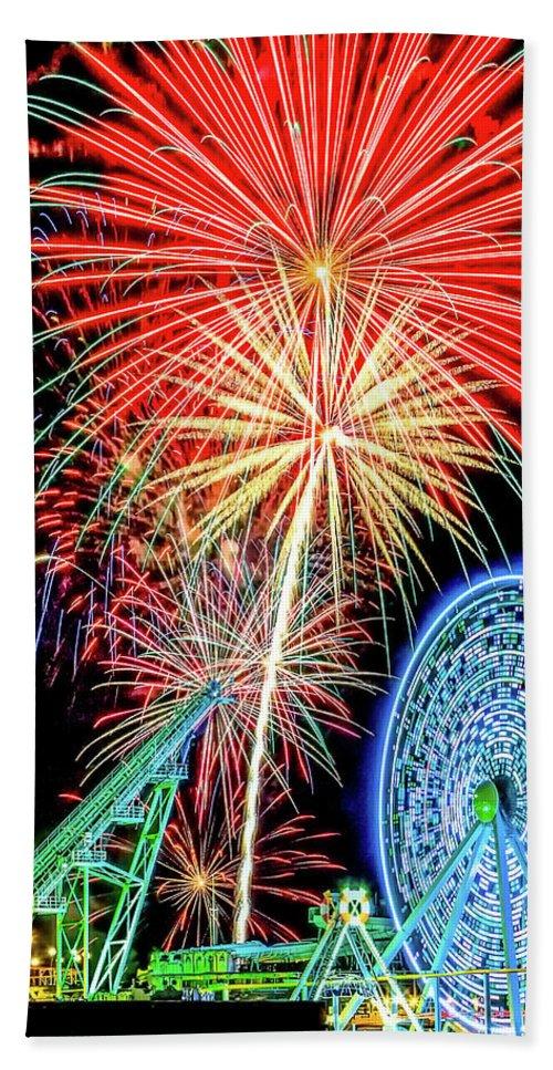 Fireworks Bath Sheet featuring the photograph Fireworks-wildwood Nj Boardwalk by Cindi Alvarado