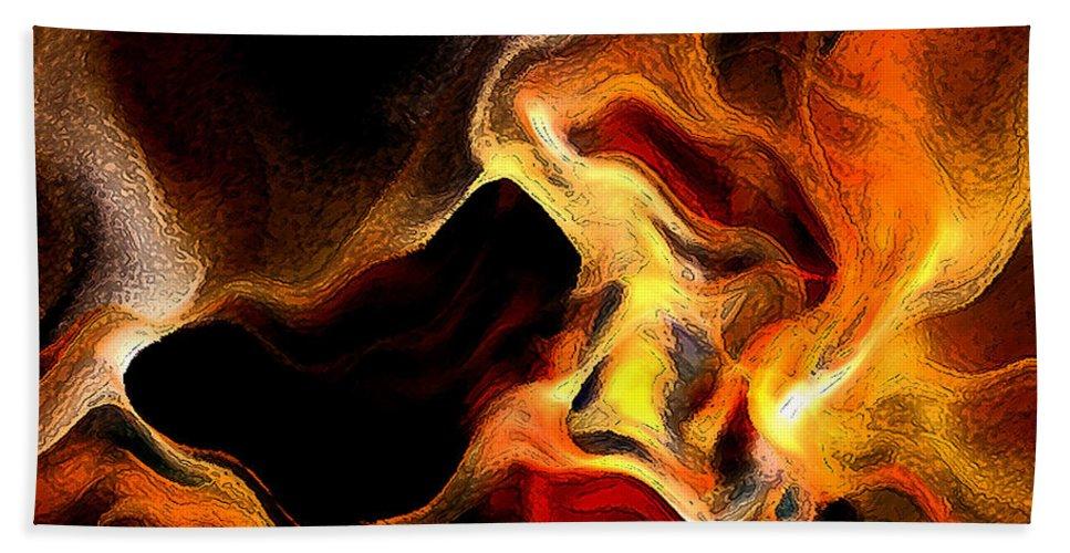 Abstract Bath Sheet featuring the digital art Firey by Ruth Palmer