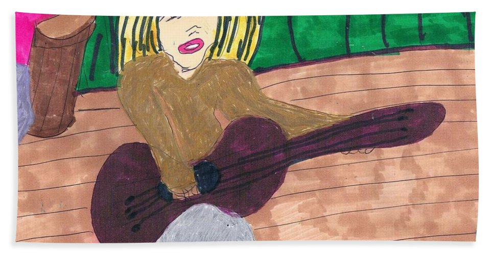 Girl Playing Guitar Hand Towel featuring the mixed media First Audition by Elinor Helen Rakowski