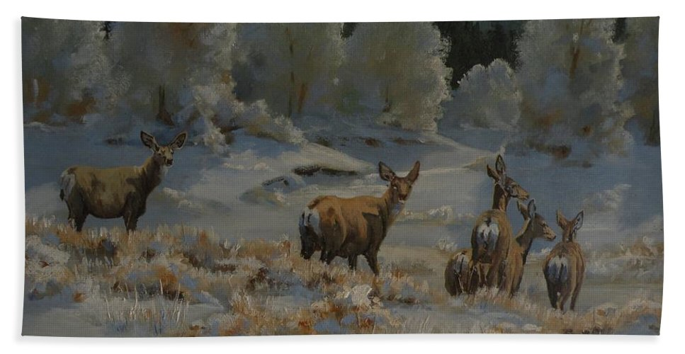 Mule Deer Bath Sheet featuring the painting First Cold Snap by Mia DeLode