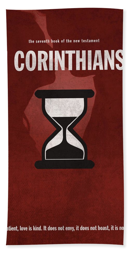 First Corinthians Bath Towel featuring the mixed media First Corinthians Books Of The Bible Series New Testament Minimal Poster Art Number 07 by Design Turnpike