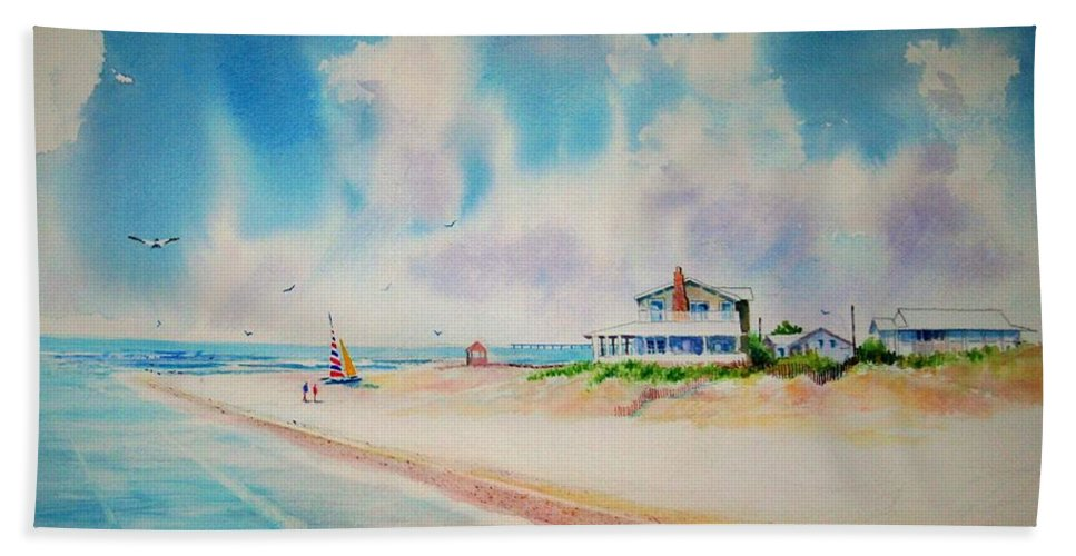 Beach Bath Towel featuring the painting First Day Of Vacation Is Pricless by Tom Harris