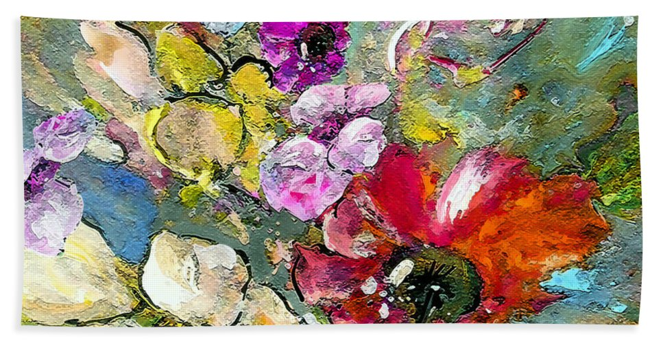 Nature Painting Bath Sheet featuring the painting First Flowers by Miki De Goodaboom