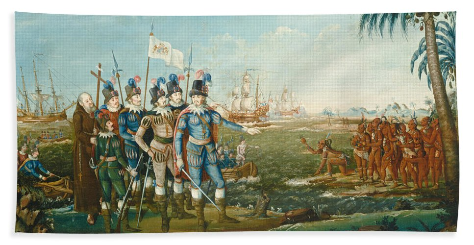 Hand Towel featuring the painting First Landing Of Christopher Columbus by Frederick Kemmelmeyer