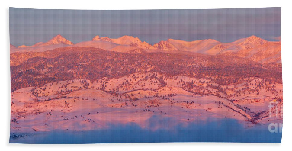 Colorado Bath Sheet featuring the photograph First Light Colorado Rocky Mountains Panorama by James BO Insogna