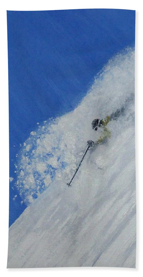 Ski Hand Towel featuring the painting First by Michael Cuozzo
