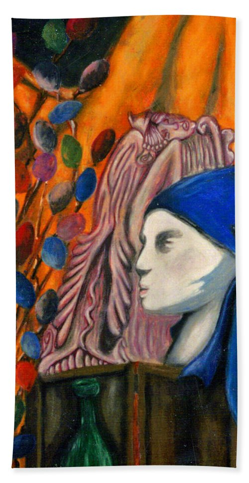 Mannequin Bath Towel featuring the pastel First Oil Pastel by Jean Haynes