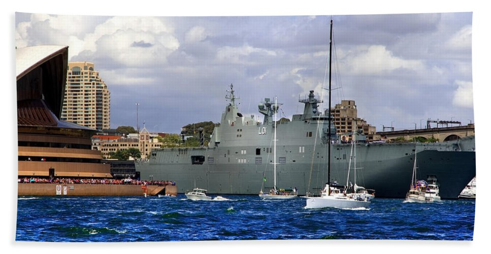 Hmas Adelaide Hand Towel featuring the photograph First Peak At Australia's Newest Warship by Miroslava Jurcik