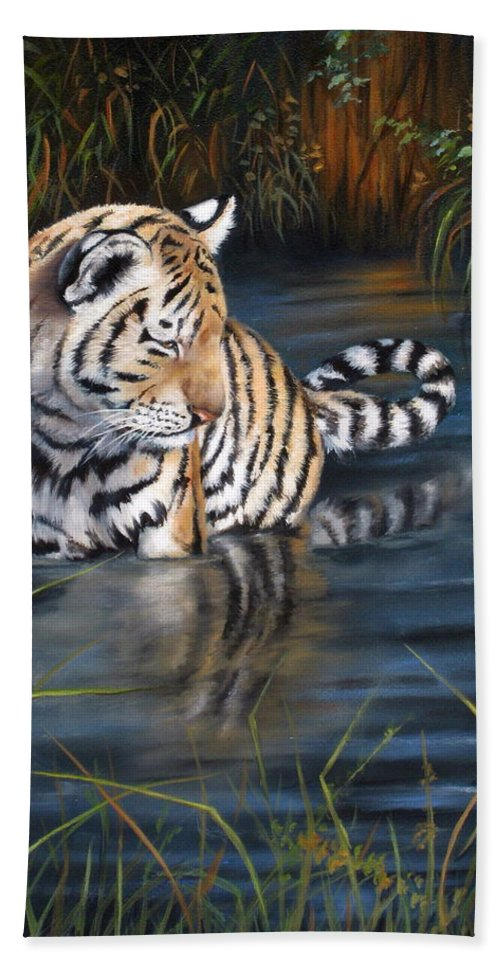 Tiger Cub Hand Towel featuring the painting First Reflection by Mary McCullah