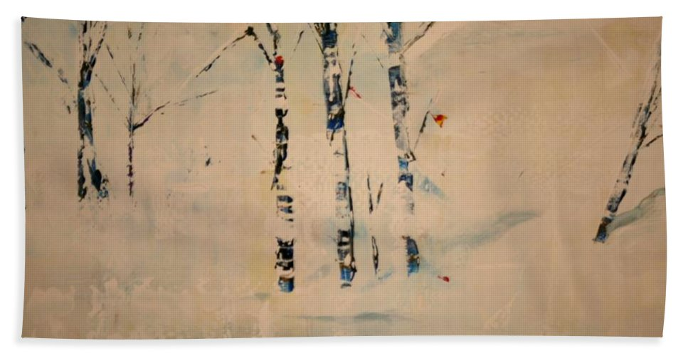 Birch Hand Towel featuring the painting First Snow Central Park by Jack Diamond