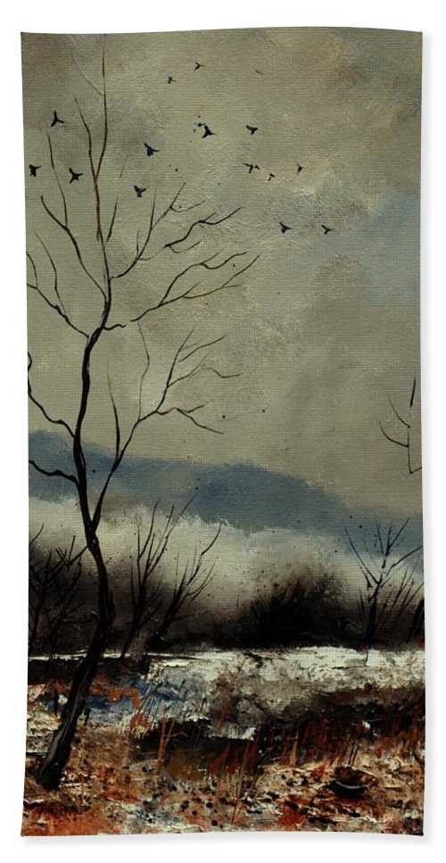 Landscape Bath Sheet featuring the painting First snow in Harroy by Pol Ledent