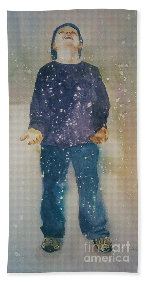 Original Custom Art Watercolor Snow Child Boy Bath Sheet featuring the painting First Snow by Maggie Clark