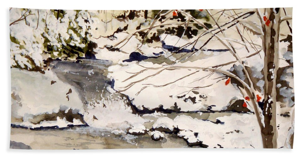 Winter Scene Bath Towel featuring the painting First Snowfall by Jean Blackmer