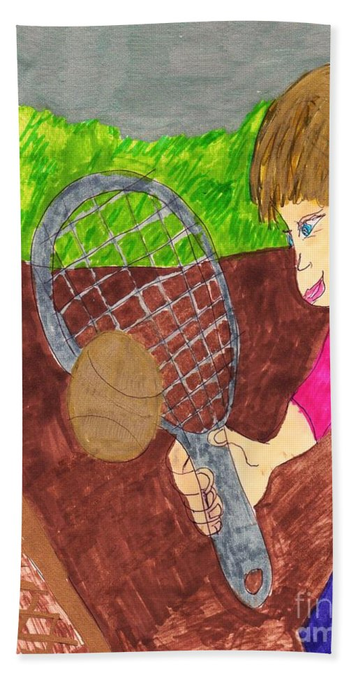 Boy Playing Tennis For The First Time Bath Sheet featuring the mixed media First Time For Tennis by Elinor Helen Rakowski