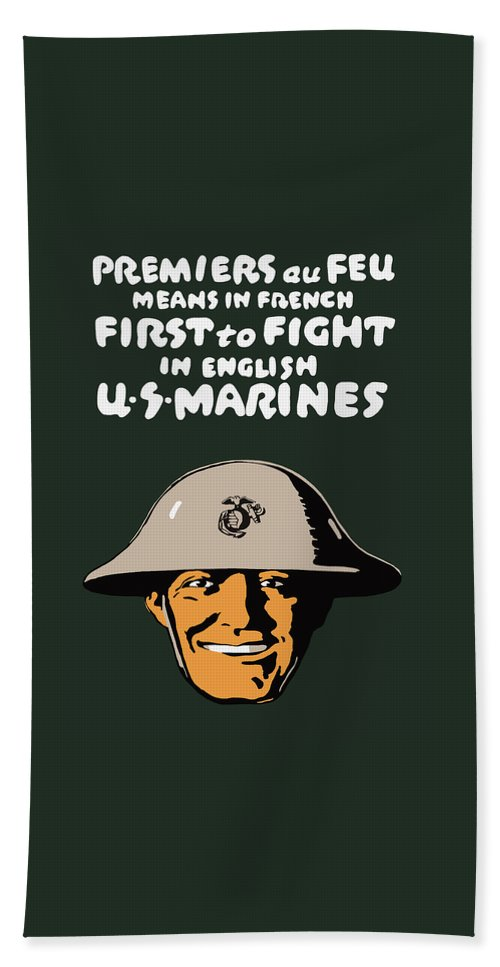 Marine Corps Bath Sheet featuring the painting First To Fight - Us Marines by War Is Hell Store