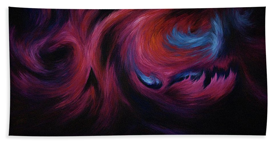 Abstract Hand Towel featuring the painting First Transcendence by Rachel Christine Nowicki