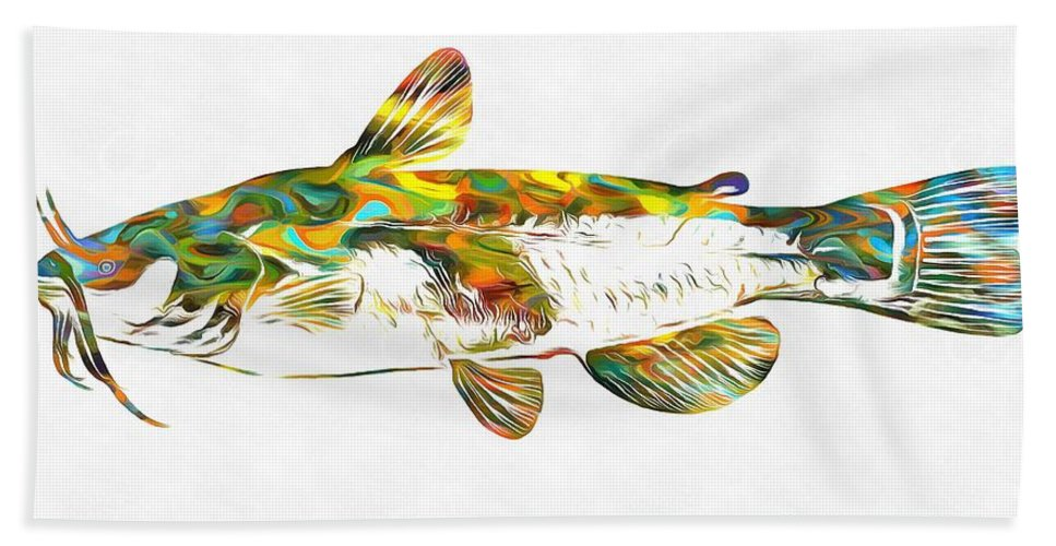 Fish Art Catfish Bath Sheet featuring the painting Fish Art Catfish by Dan Sproul