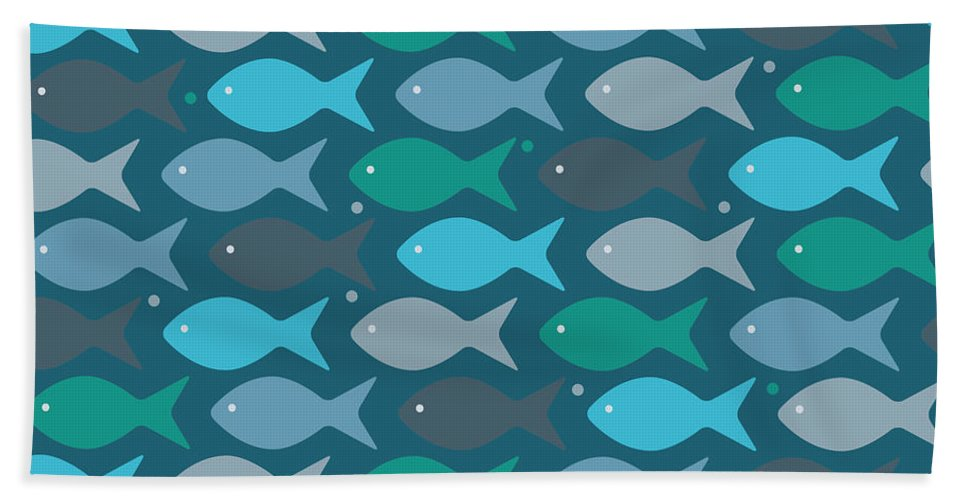 Dolphins Hand Towel featuring the digital art Fish Blue by Mark Ashkenazi