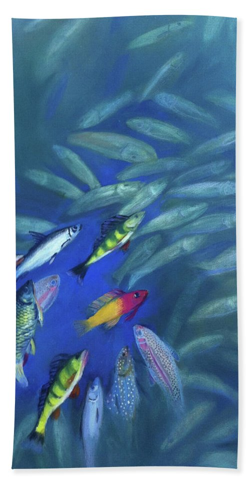 Fish Bath Sheet featuring the painting Fish Bowl by Art Nomad Sandra Hansen