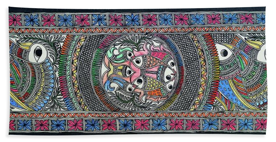 Bath Sheet featuring the painting Fish Culture by Prerna