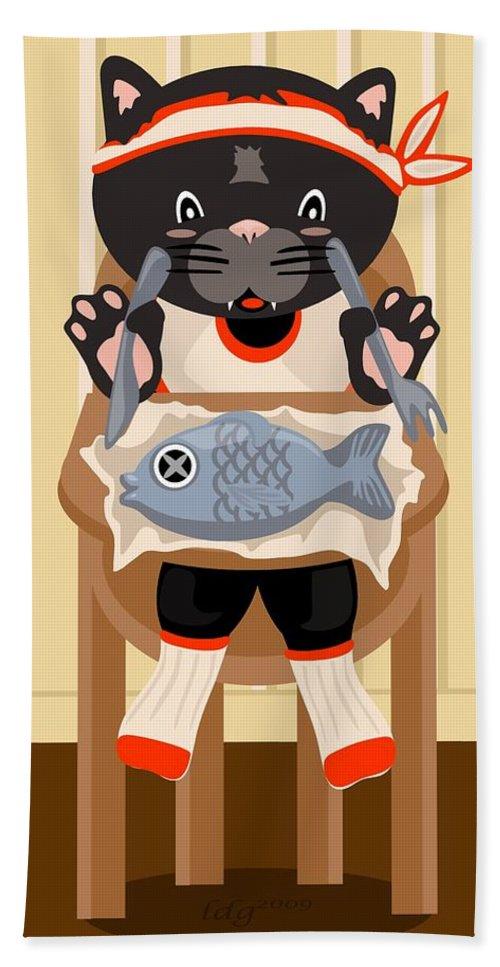Cat Bath Sheet featuring the digital art Fish For Dinner by LD Gonzalez