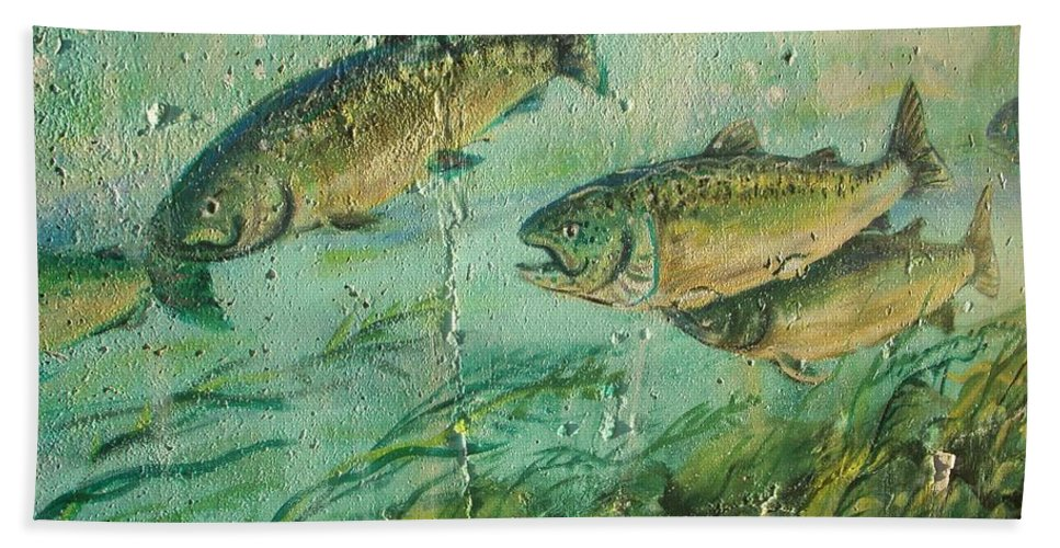 Fish Bath Sheet featuring the photograph Fish On The Wall 2 by Vesna Antic