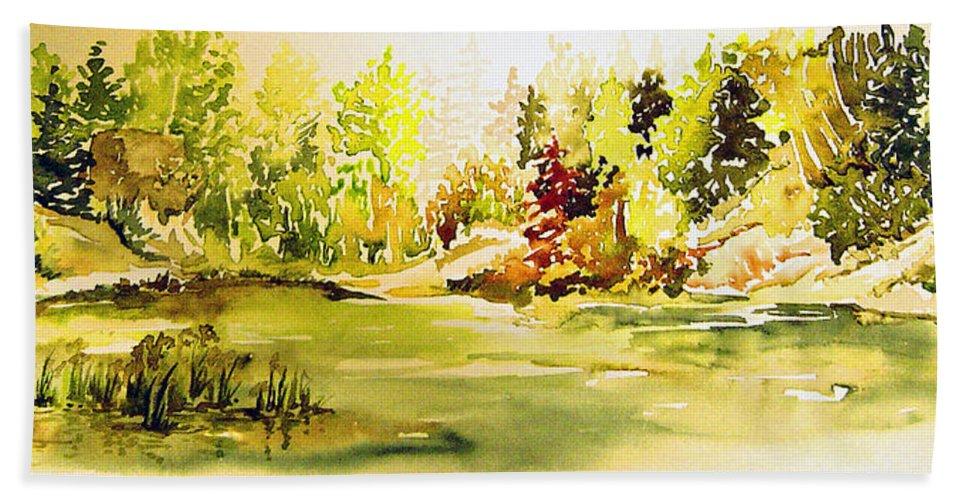 Fish Pond At Nutimik Lake Manitoba Whiteshell Bath Sheet featuring the painting Fish Pond At Nutimik Lake Manitoba by Joanne Smoley