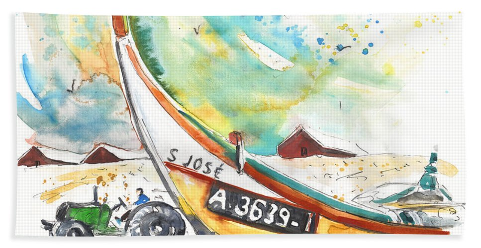 Portugal Hand Towel featuring the painting Fisherboat in Praia de Mira by Miki De Goodaboom