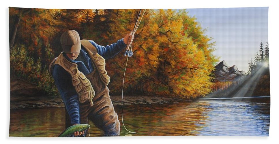 Fly Fishing Hand Towel featuring the painting Fisherman by Anthony J Padgett