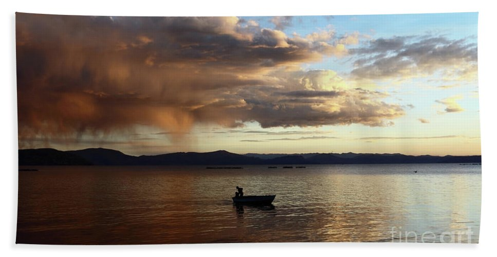 Peru Bath Sheet featuring the photograph Fisherman At Sunset On Lake Titicaca by James Brunker