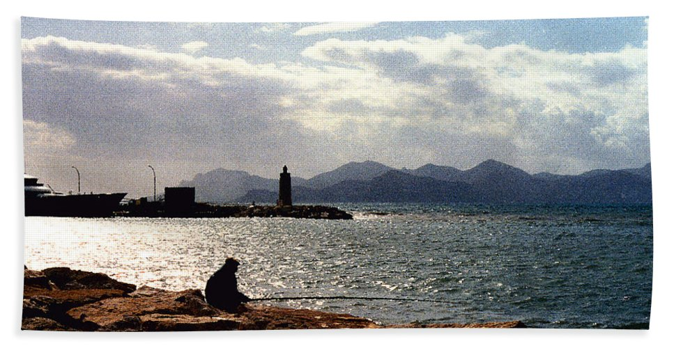 Fisherman Bath Towel featuring the photograph Fisherman In Nice France by Nancy Mueller
