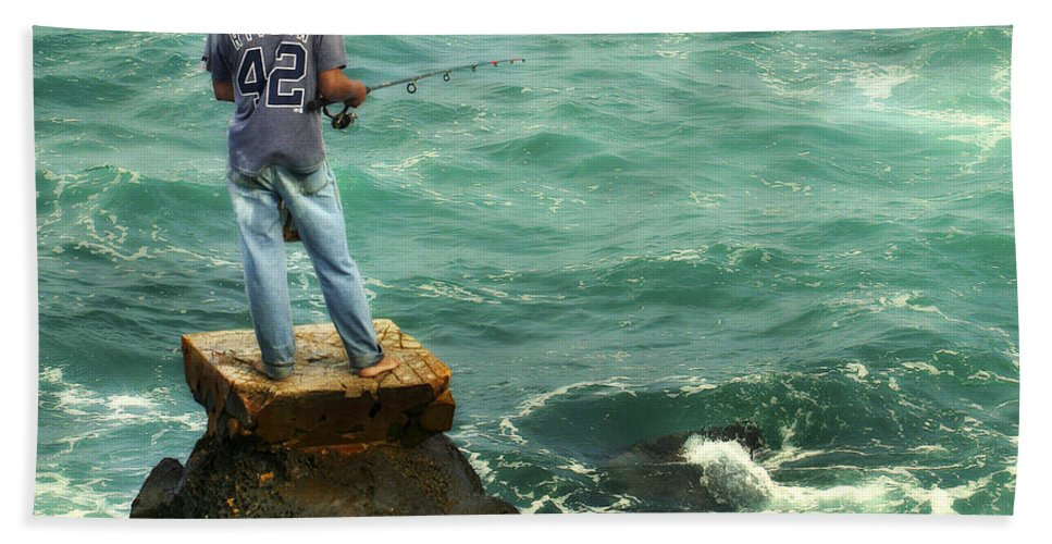 Americana Hand Towel featuring the photograph Fisherman by Marilyn Hunt
