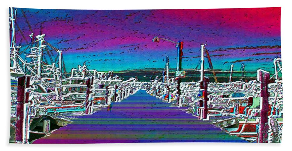 Seattle Hand Towel featuring the photograph Fishermans Terminal Pier by Tim Allen