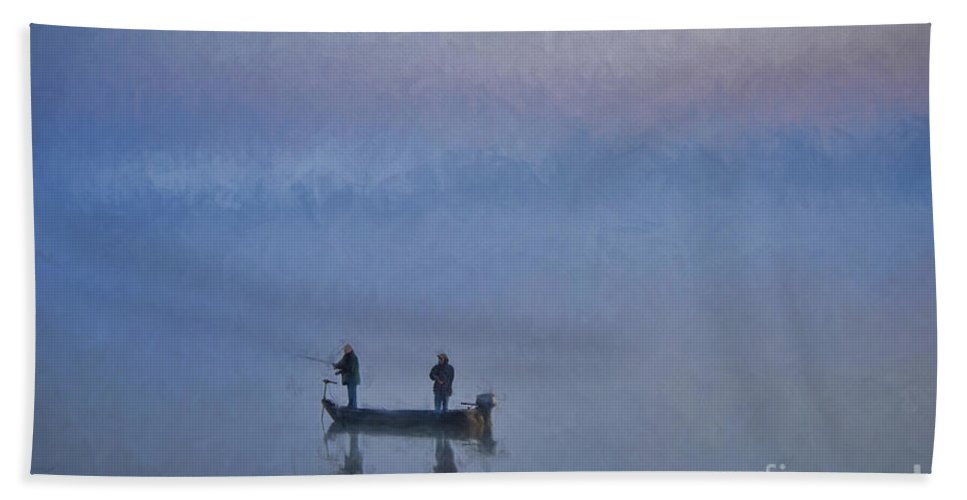 Fishing Hand Towel featuring the photograph Fishermen At Dawn by David Arment