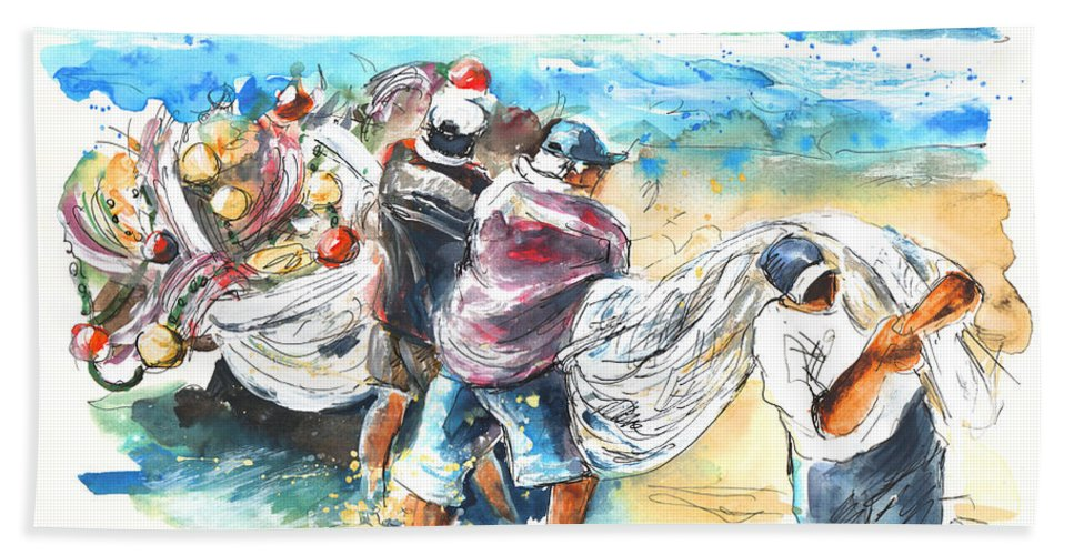 Portugal Hand Towel featuring the painting Fishermen In Praia De Mira by Miki De Goodaboom