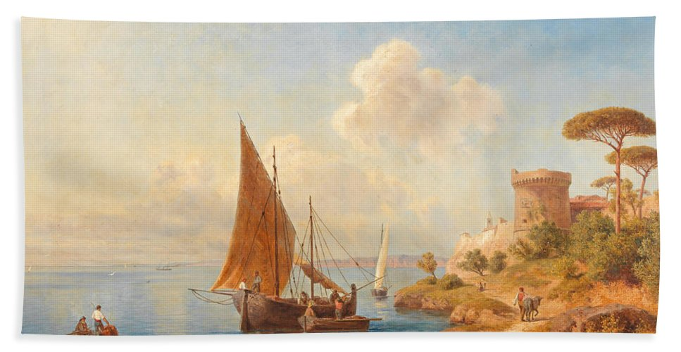 Gottfried Seelos Bath Sheet featuring the painting Fishermen On The Dalmatian Coast by Gottfried Seelos