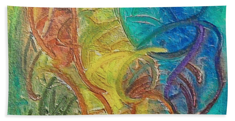 Mixed Media Bath Sheet featuring the mixed media Fishes by Dragica Micki Fortuna