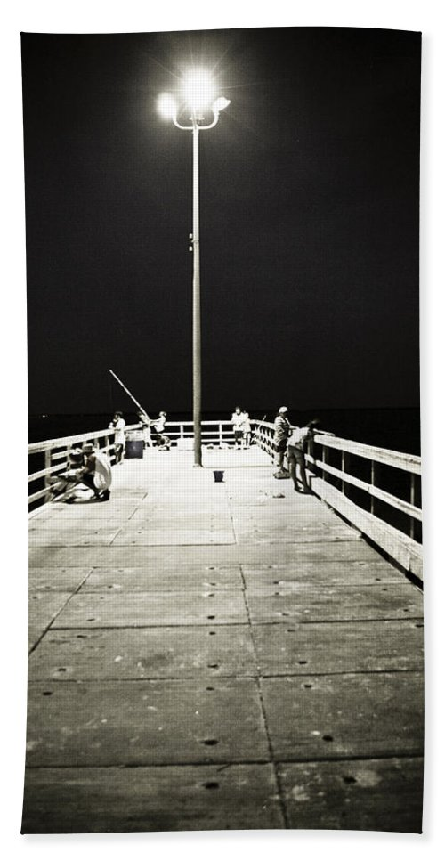 Americana Hand Towel featuring the photograph Fishing At Night by Marilyn Hunt
